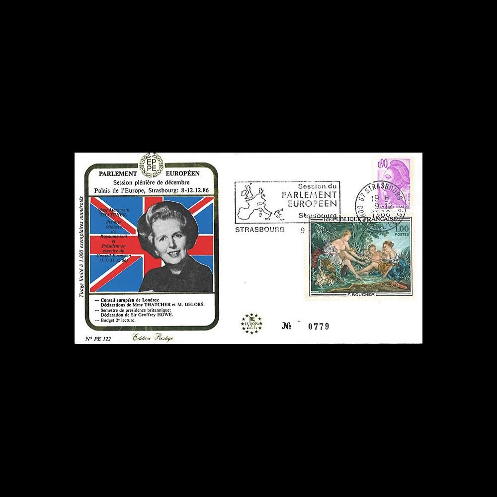 PE122 : 1986 - FDC PE Bilan de la Présidence britannique de l'UE par Margaret THATCHER