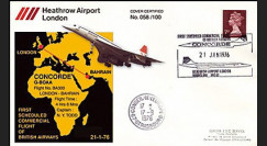 COL2 : 1976 Pli spécial décollage Concorde G-BOAA vol London-Barhain