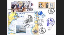 """HLF15-19T2 : 2015 Maxi FDC FRANCE-SPM """"Départ Ile d'Aix - Escale n°16 SPM - L'HERMIONE"""""""