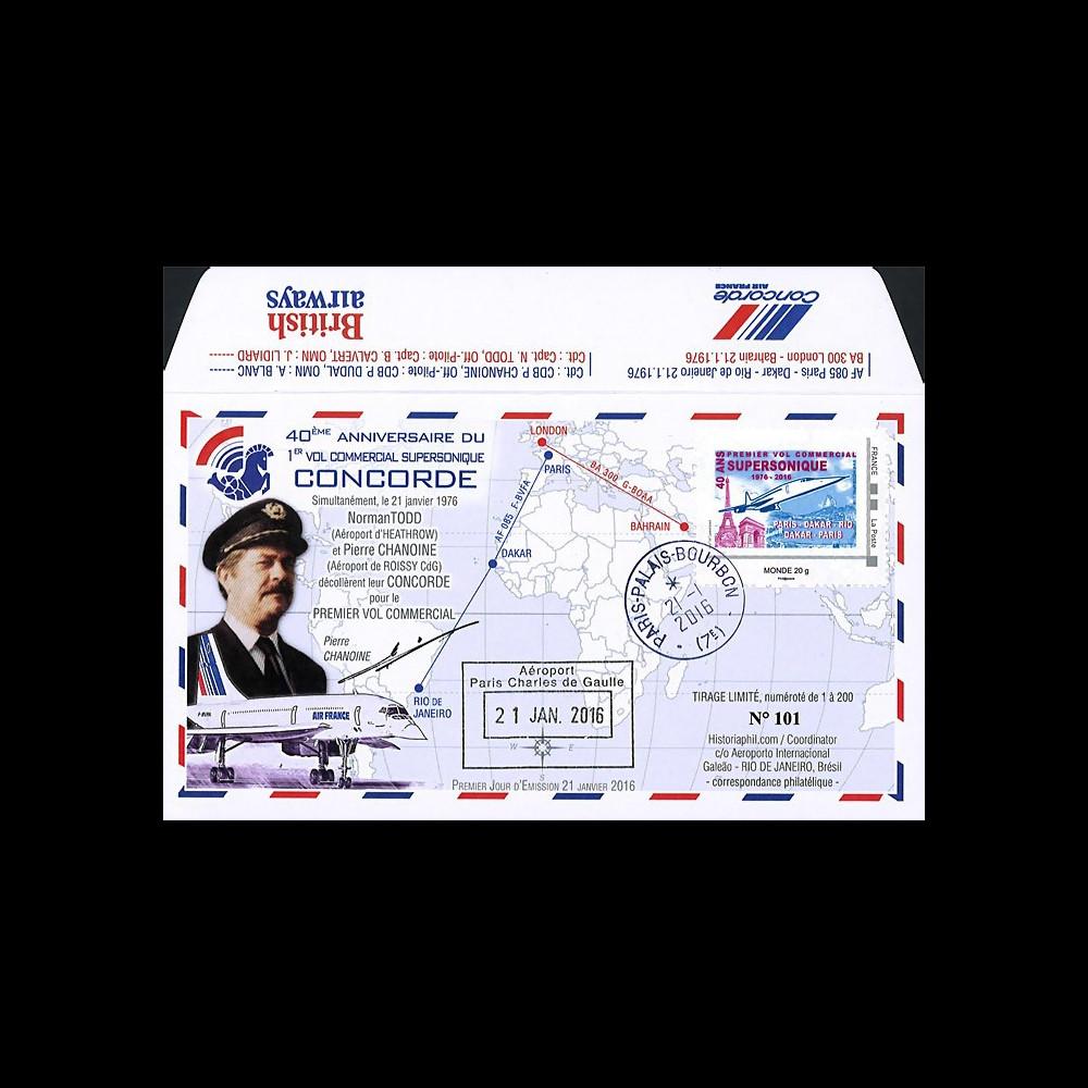 """CO-RET58T2 : 2016 - FDC FRANCE """"CONCORDE - 40 ans 1er vol Paris-Rio / Ass. Nationale"""""""