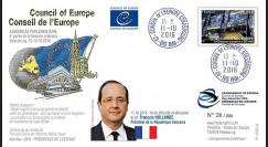 """CE67-V : 10-2016 FDC Conseil de l'Europe """"Visite du Président François HOLLANDE"""""""