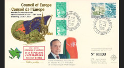 "CE52-IC : 2001 FDC ""Adhésion Azerbaïdjan au Conseil de l'Europe - Président ALIYEV"""