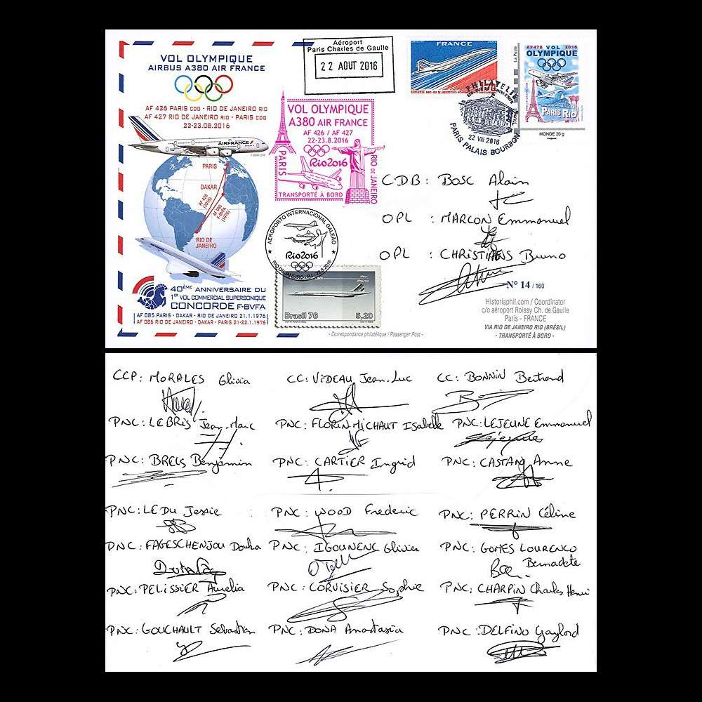 """A380-299D : 2016 FFC """"A380 AF Vol Olympique Paris-Rio"""" signé des 24 membres d'équipage"""
