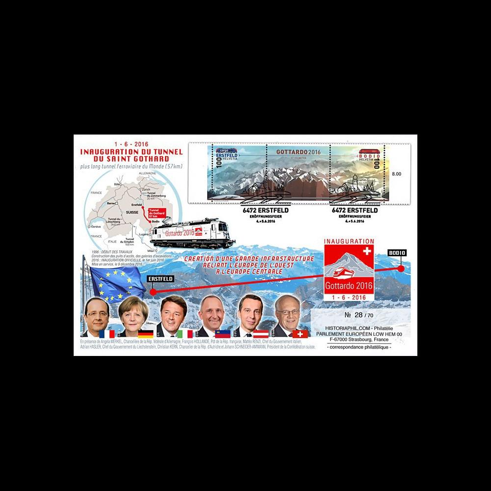 "GOT2016-1T1 : 2016 Maxi-FDC ""Inauguration du plus long tunnel du monde Saint-Gothard"""