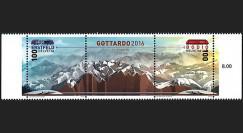 """GOT2016-N : SUISSE Tryptique """"Gottardo 2016"""" impression avec poudre de roche du tunnel"""