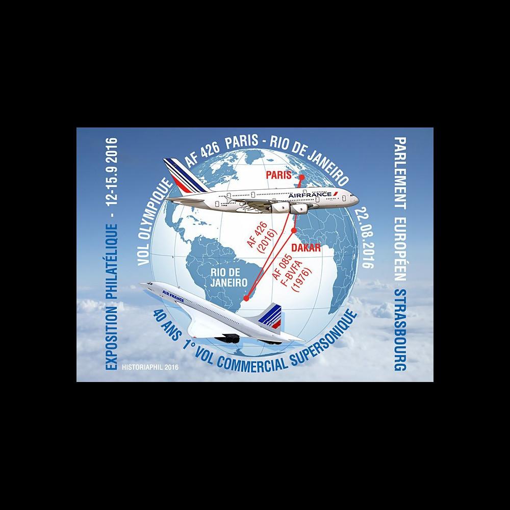 """A380-299CP : 2016 - FRANCE Carte postale """"A380 Air France Vol Olympique Paris-Rio"""""""