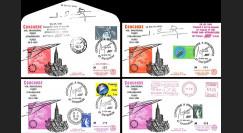 """AF4750-1/4D : 28.05.1981 - 4 Plis """"1er vol Concorde AF Paris-Strasbourg-Tunis (Tunisie)"""""""