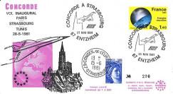 """AF4750-4T3 : 28.05.1981 - Pli """"1er vol Concorde AF Paris-Strasbourg-Tunis (Tunisie)"""""""