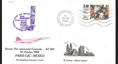 "AF011MT2 : 31.10.1982 - FFC voyagée ""Dernier vol Concorde AF011 Paris-Mexico"""