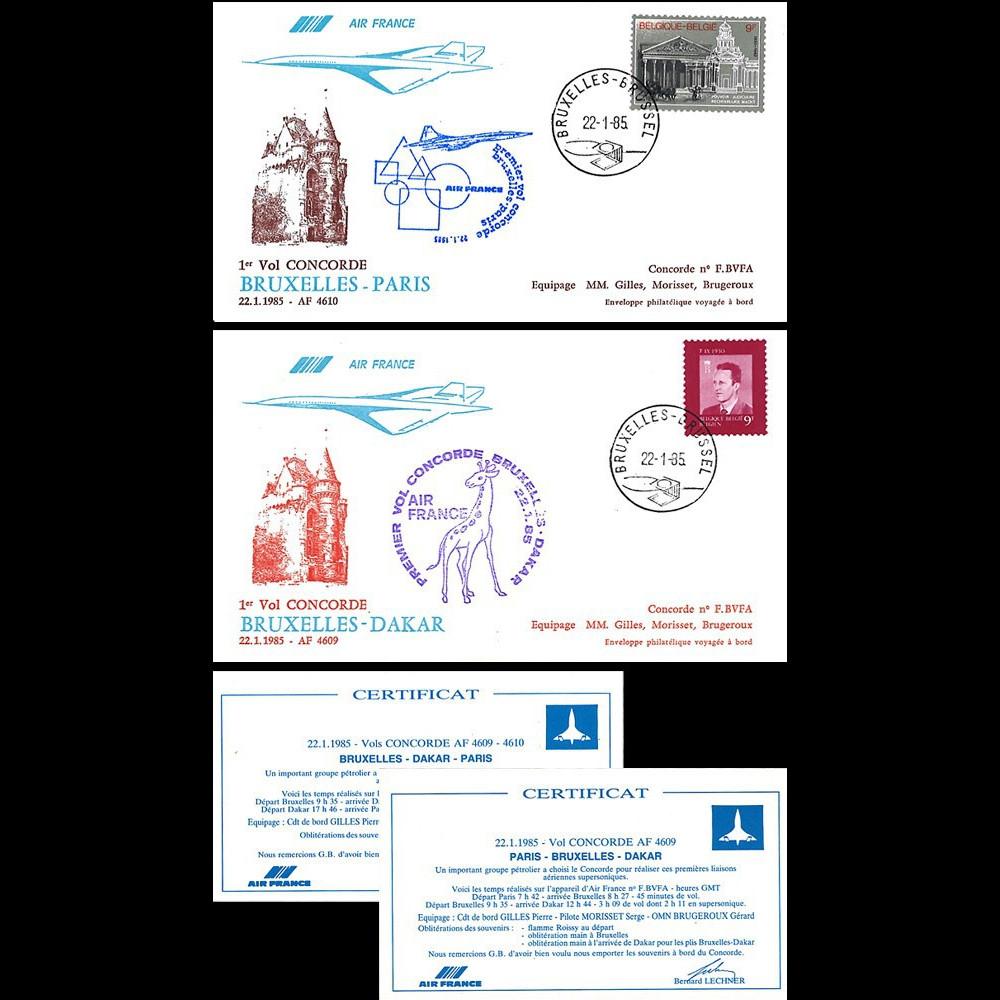 """AF4609/10 : 22.01.1985 - 2 FFC voyagées """"Vol spécial Concorde AF Paris-Bruxelles-Dakar"""""""