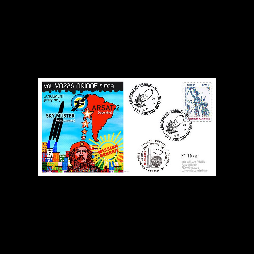 """VA226L-T2 : 2015 - FDC KOUROU """"Fusée ARIANE 5 - Vol 226 / ARSAT-2 et Sky Muster"""""""