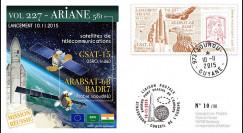 """VA227L-T1 : 2015 - FDC KOUROU """"Fusée ARIANE 5 - Vol 227 / GSAT-15 et Arabsat-6B"""""""