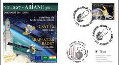 """VA227L-T2 : 2015 - FDC KOUROU """"Fusée ARIANE 5 - Vol 227 / GSAT-15 et Arabsat-6B"""""""