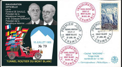 """FE12a-T1 : 1965 FRANCE FDC """"Inauguration tunnel du Mont-Blanc / DE GAULLE - SARAGAT"""""""