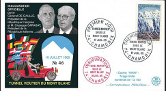 """FE12a-T2 : 1965 FRANCE FDC """"Inauguration tunnel du Mont-Blanc / DE GAULLE - SARAGAT"""""""