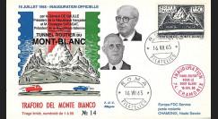 "FE12ba-T1 : 1965 ITALIE FDC ""Inauguration tunnel du Mont-Blanc / DE GAULLE - SARAGAT"""