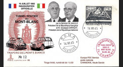"FE12ba-T3 : 1965 ITALIE FDC ""Inauguration tunnel du Mont-Blanc / DE GAULLE - SARAGAT"""