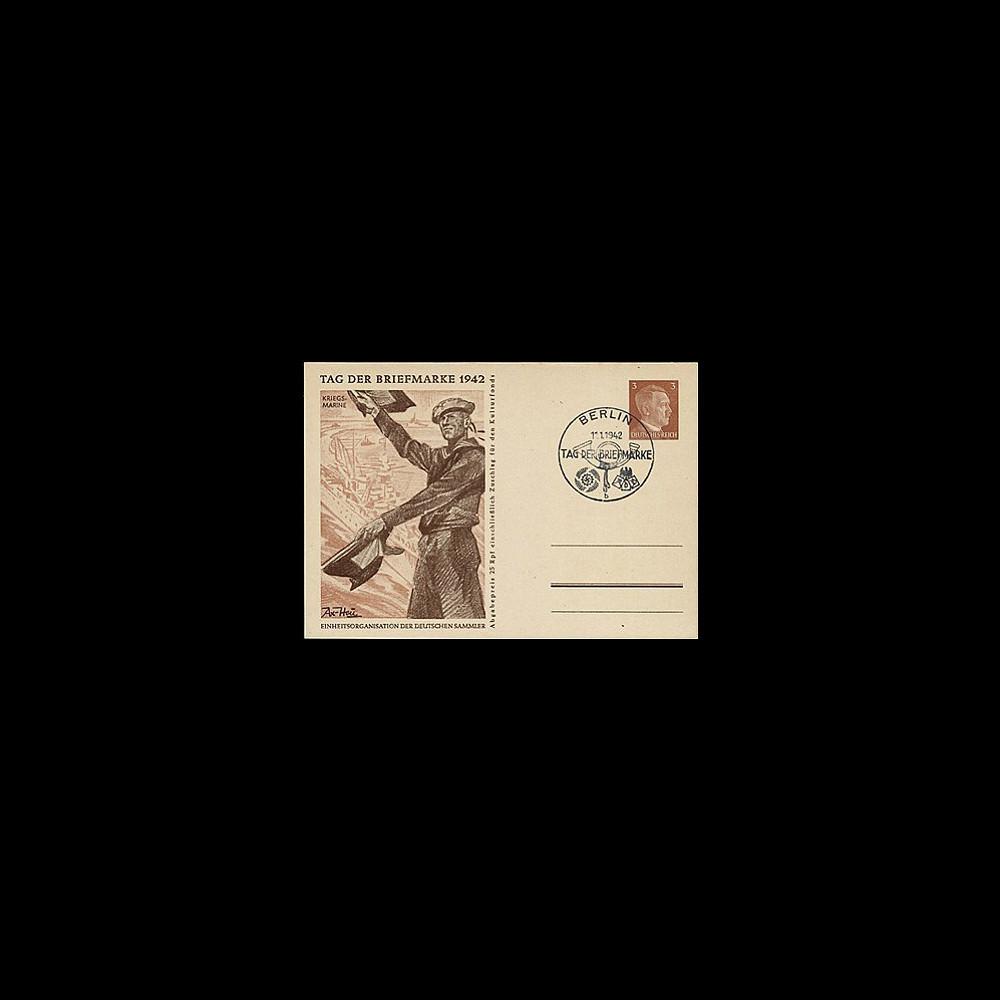 T67-2 T2 : 1942 - Entier postal IIIe Reich Journée du Timbre - Kriegsmarine