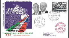 "FE12ba-T4 : 1965 ITALIE FDC ""Inauguration tunnel du Mont-Blanc / DE GAULLE - SARAGAT"""