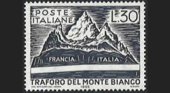 "FE12ba-N : 1965 - ITALIE timbre-poste 30L ""Inauguration du tunnel du Mont-Blanc"""