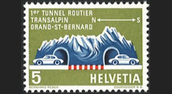 "SUI-10LN : 1964 Suisse Timbre ""Inauguration Gd-St-Bernard 1er tunnel routier transalpin"""