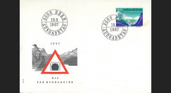 "SUI-12L : 1967 - SUISSE FDC ""Inauguration du tunnel routier transalpin du San Bernardino"""