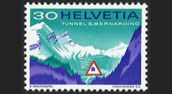 "SUI-12N : 1967 Suisse Timbre ""Inauguration tunnel routier transalpin du San Bernardino"""