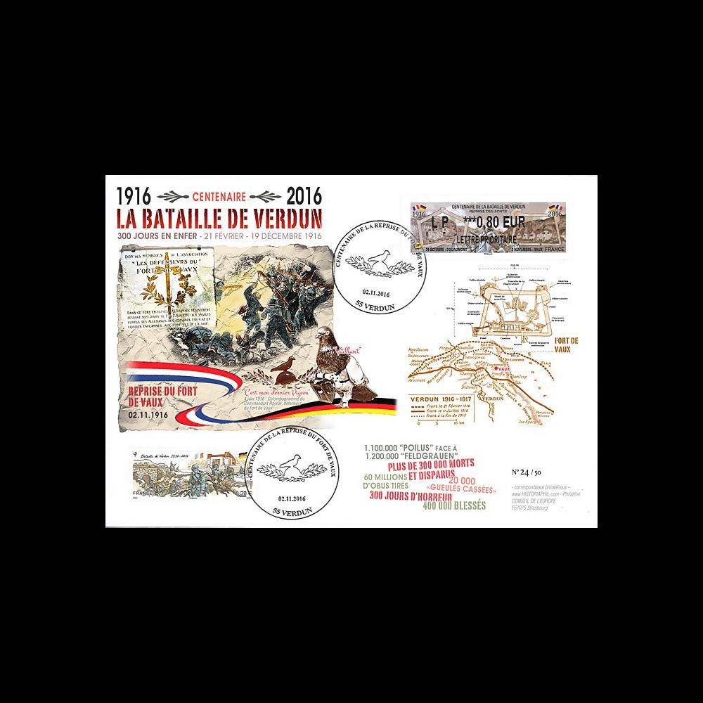 """CENT16-2 : 2016 - Maxi-FDC FRANCE """"Centenaire Bataille de Verdun / Fort de Vaux"""""""