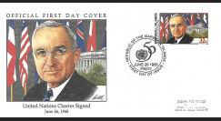 MARSH95-2 FDC Marshall Islands (USA) 'Signature Charte Nations Unies par H. Truman' 1995
