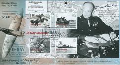 DEB04-GIB2 : 2004 FDC Gibraltar '60 ans Débarquement 1944' Eisenhower & de Gaulle