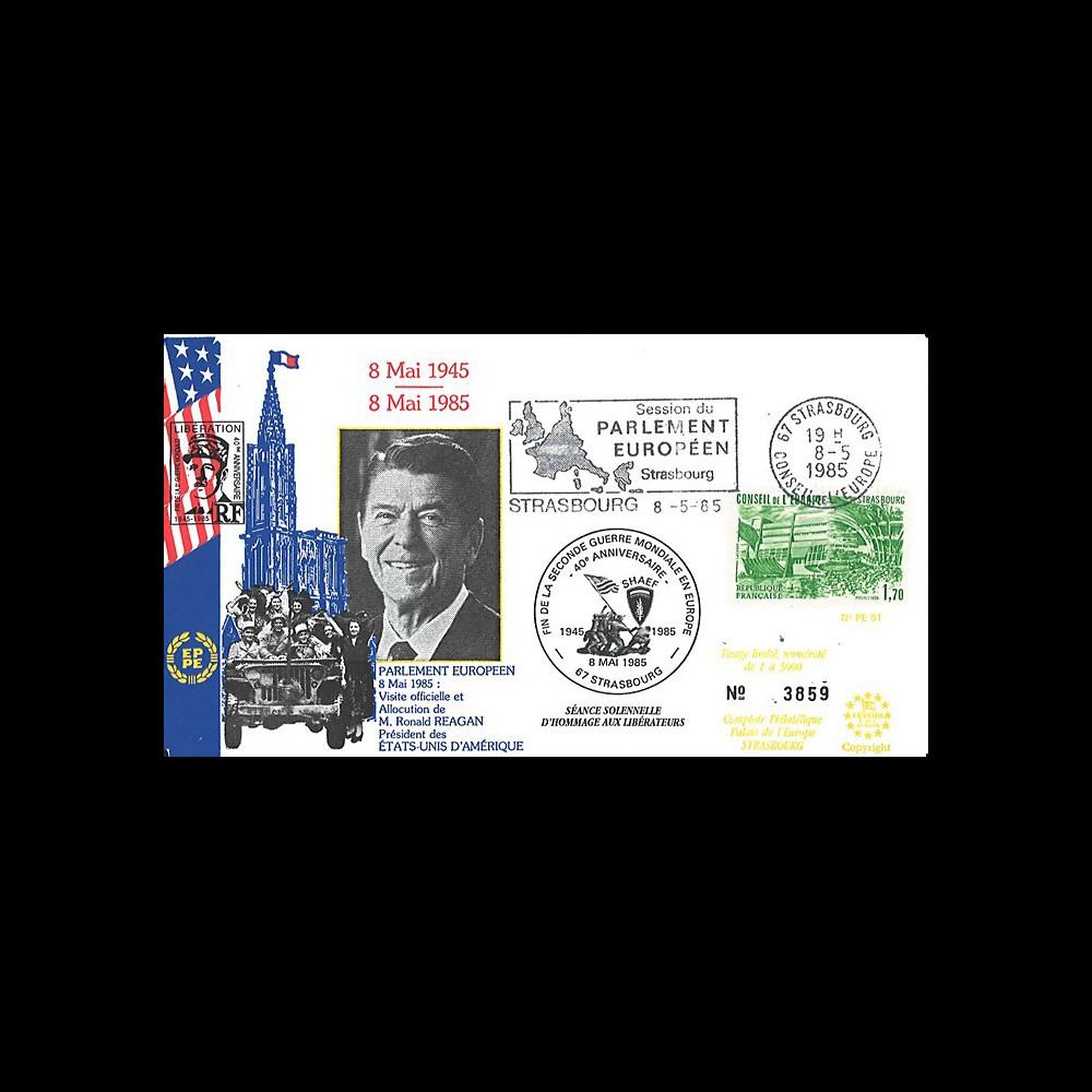 PE91 FDC PE 'Fin 2e Guerre Mondiale en Europe 1945 / Visite du Président Reagan' 1985