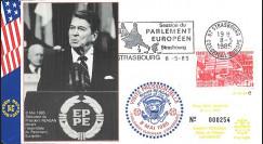 PE94c FDC 'Fin 2e Guerre Mondiale en Europe 1945 / Reagan devant les Eurodéputés' 1985