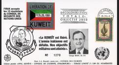 IK12 FDC SUISSE 'Guerre du Golfe Libération du Koweït / M. BUSH & Gal Schwarzkopf' 1991
