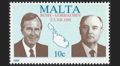 PE203AN : Malte timbre 'Sommet Bush - Gorbatchev 2-3.XII.1989 / FIN GUERRE FROIDE'