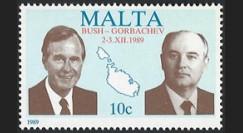 PE203AN : Malte timbre 'Sommet Bush - Gorbatchev 2-3.XII.1989 / FIN GUERRE FROIDE'