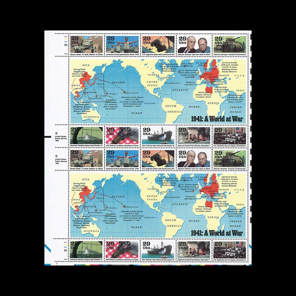 US91-41F : USA 1991 Feuille 20 timbres '1941 Un Monde en Guerre / Roosevelt & Churchill'