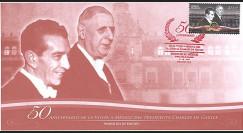 DG14-MEX : 2014 FDC Mexique '50 ans visite d'état au Mexique / de Gaulle & Lopez Mateos'
