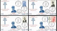 DG11 : 1972 France 4 FDC 'Inauguration Mémorial DE GAULLE de Colombey' Saint-Etienne