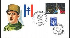 DG80HU : FDC Huppy 'Exposition philatélique Général de Gaulle' 1980