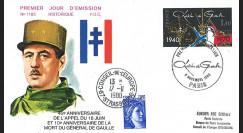 DG80PA : FDC 1er Jour Paris '10e anniversaire mort du Gal de Gaulle' 09.11.1970-1980