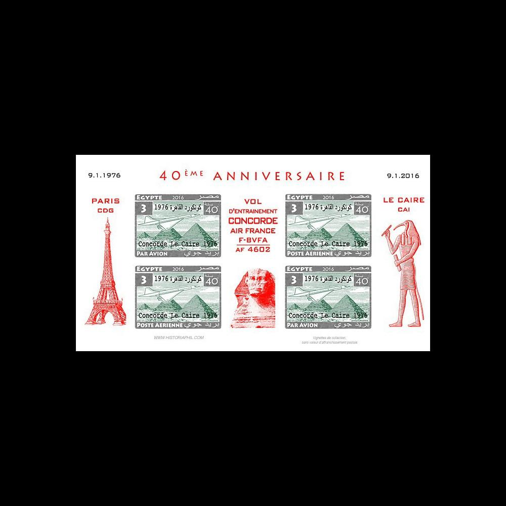 CO-RET75F3-ND Vignettes '40 ans Vol entraînement Concorde AF Paris-Le Caire 1976-2006'