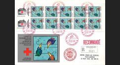 CR92R : Pli recommandé France 'Carnet Croix Rouge 1992 - Lutte contre le SIDA (Ungerer)'