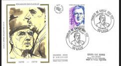 DG90LI : FDC Premier Jour Lille 'Centenaire de la naissance du Général de Gaulle' 1990
