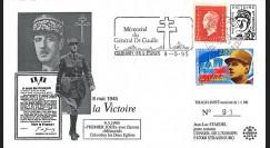 DG95CO1 : 1995 FDC 1er Jour Colombey-les-2-Eglises 'DE GAULLE / 8 mai 45 la Victoire'
