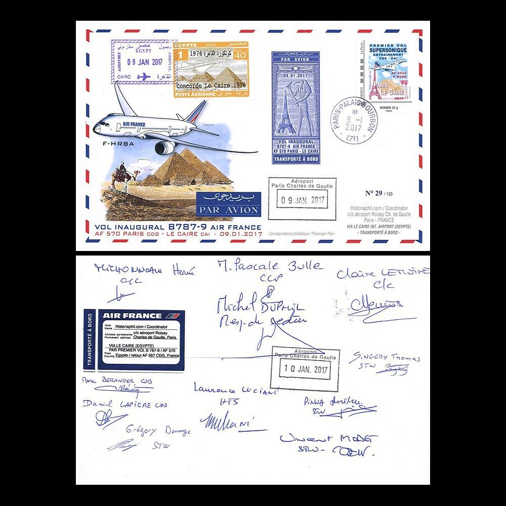 """CO-RET75D : France FFC """"1er vol AF B787-900 Paris-Le Caire signée par l'équipage"""" 2017"""
