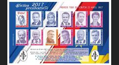 """PRES17-2FND : Feuillet 12 vignettes """"France Présidentielle 2017 - 1er tour / 11 candidats"""""""