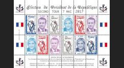 PRES17-6FD Feuillet 12 vignettes France Présidentielle 2017 - 2nd tour MACRON & LE PEN