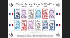 PRES17-6FND Feuillet 12 vignettes France Présidentielle 2017 - 2nd tour MACRON & LE PEN