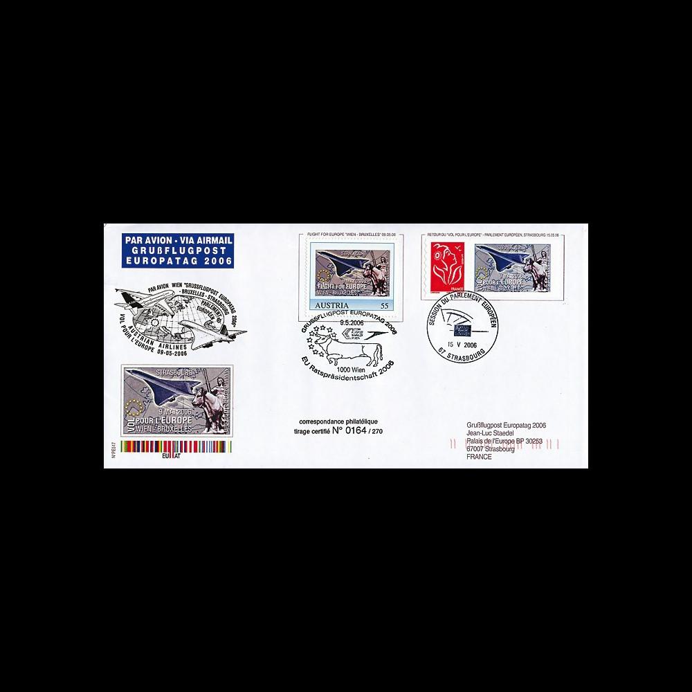 PE517 : 2006 - Pli aérophilatélique Vol pour l'Europe Wien-Brussel