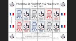PRES17-13FD Feuillet 12 vignettes France Présidentielle 2017 - INVESTITURE DE MACRON